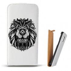 Toc SONY Xperia Z3 Compact Husa Piele Ecologica Flip Vertical Alba Model Lion Abstract - Husa Telefon