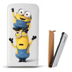 Toc Microsoft Lumia 435 Husa Piele Ecologica Flip Vertical Alba Model Two Minions - Husa Telefon