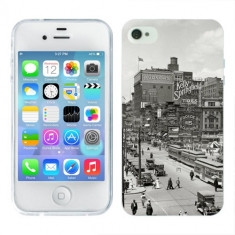 Husa iPhone 4S Silicon Gel Tpu Model Vintage City - Husa Telefon Apple, iPhone 4/4S