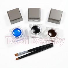 Eyeliner Gel 3 culori + 2 pensula - Maro, Negru, Albastru - Tus ochi