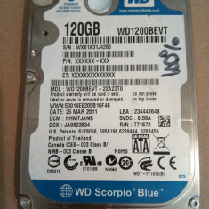 Hard Disk / HDD SATA WESTERN DIGITAL BLUE 120GB 100% HEALTH Laptop - HDD laptop Western Digital, 100-199 GB, Rotatii: 5400