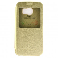 Toc Wow Husa Book Samsung Galaxy S6 Edge G925 Mercury TPU Eco cu Fereastra Gold Auriu