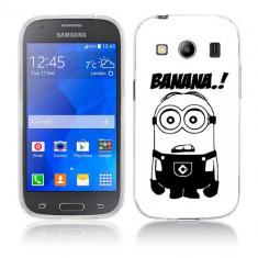 Husa Samsung Galaxy Ace 4 G357 Silicon Gel Tpu Model Minion Banana B&W - Husa Telefon