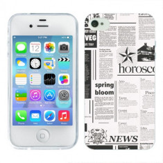 Husa iPhone 4S Silicon Gel Tpu Model Newspaper - Husa Telefon Apple, iPhone 4/4S