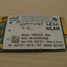 Placa de retea wireless laptop Dell Latitude D830, Intel 4965AGN, 0UT121