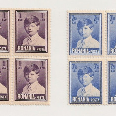 Lp 83 - Mihai I, format mic - 2 valori (1 leu si 7, 50 lei) - blocuri de 4 - Timbre Romania, An: 1929, Nestampilat