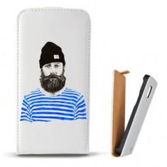Toc Microsoft Lumia 435 Husa Piele Ecologica Flip Vertical Alba Model Abstract Man V3 - Husa Telefon