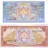 Bancnota Bhutan 1 si 5 Ngultrum 1986/90 - P12/14b UNC ( set 2 bancnote ) - bancnota asia