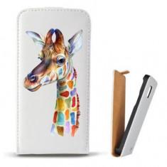 Toc Microsoft Lumia 435 Husa Piele Ecologica Flip Vertical Alba Model Girafa Colorata - Husa Telefon Microsoft, Cu clapeta