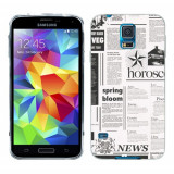 Husa Samsung Galaxy S5 G900 G901 Plus G903 Neo Silicon Gel Tpu Model Newspaper