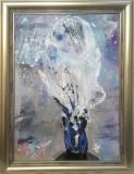 Arta onirica semata KLOSKA vas cu flori metafizice despre lumina, Acrilic, Abstract