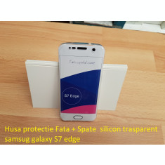 Husa protectie Fata + Spate  silicon trasparent samsug galaxy S7 edge