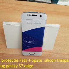 Husa protectie Fata + Spate  silicon trasparent samsug galaxy S7 edge, Samsung Galaxy S7 Edge, Transparent