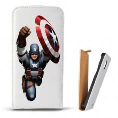 Toc Microsoft Lumia 435 Husa Piele Ecologica Flip Vertical Alba Model Captain America Figure - Husa Telefon
