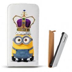 Toc Microsoft Lumia 435 Husa Piele Ecologica Flip Vertical Alba Model King Minion - Husa Telefon Microsoft, Cu clapeta