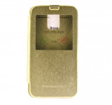 Toc Wow Husa Book Samsung Galaxy S5 G900 Mercury TPU Eco cu Fereastra Gold Auriu, Gel TPU