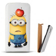 Toc Samsung Galaxy S5 Mini G800 Husa Piele Ecologica Flip Vertical Alba Model Minions - Husa Telefon
