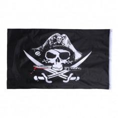 Steag pirati - Jolly Roger cu sabii si cutit - Decoratiuni petreceri copii