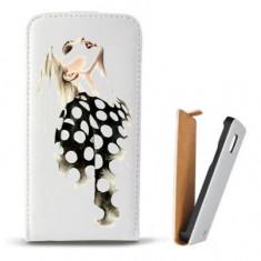 Toc Microsoft Lumia 435 Husa Piele Ecologica Flip Vertical Alba Model Women Draw V2 - Husa Telefon