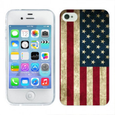 Husa iPhone 4S Silicon Gel Tpu Model USA Flag - Husa Telefon Apple, iPhone 4/4S