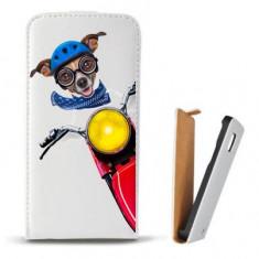 Toc Microsoft Lumia 435 Husa Piele Ecologica Flip Vertical Alba Model Caine Motociclist - Husa Telefon Microsoft, Cu clapeta