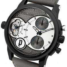 Police PL.94371AEU/04 ceas barbatesc nou, original 100%, in cutie cu certificat, Quartz, Otel, Piele, Ziua si data, Analog
