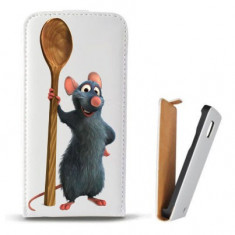 Toc Microsoft Lumia 435 Husa Piele Ecologica Flip Vertical Alba Model Ratatouille - Husa Telefon