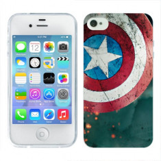 Husa iPhone 4S Silicon Gel Tpu Model Captain America - Husa Telefon Apple, iPhone 4/4S