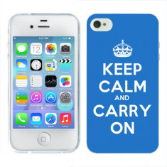 Husa iPhone 4S Silicon Gel Tpu Model Keep Calm Carry On