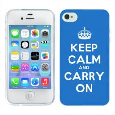 Husa iPhone 4S Silicon Gel Tpu Model Keep Calm Carry On - Husa Telefon
