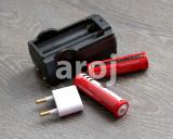 Set 2 Baterii Acumulator 3,7 V Li-ion 4200 mAh 18650 + incarcator priza