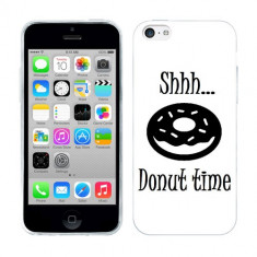 Husa iPhone 5C Silicon Gel Tpu Model Donut Time B&W - Husa Telefon Apple