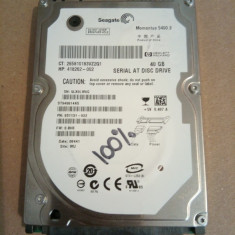 Hard Disk / HDD SATA SEAGATE MOMENTUS 40GB 100% HEALTH Laptop - HDD laptop Seagate, 41-80 GB, Rotatii: 5400