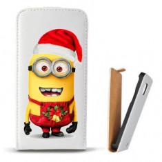 Toc Microsoft Lumia 435 Husa Piele Ecologica Flip Vertical Alba Model Craciun Minion Christmas - Husa Telefon