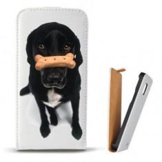 Toc Microsoft Lumia 435 Husa Piele Ecologica Flip Vertical Alba Model Black Puppy - Husa Telefon Microsoft, Cu clapeta