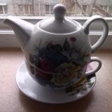 Set ceai-farfurioara, cescuta, ceainic cu capac-decor floral - Ceasca