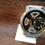 FOSSIL Nate Twist Black and Skeletal Dial Stainless Steel Bracelet Men's Watch