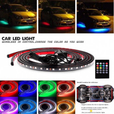 Kit banda LED SMD RGB sub masina cu telecomanda + control muzika - Neoane tuning