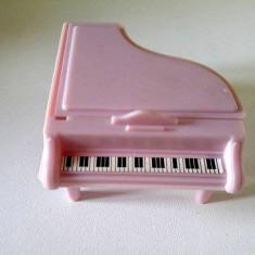 Jucarie pian pentru papusi, plastic roz, 8x7x4cm, perfect pt casa papusii - Instrumente muzicale copii
