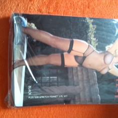 Compleu sexi din plasa, dama, negru alcatuit din chilot bustiera si ciorapi - Lenjerie sexy femei, Marime: Marime universala