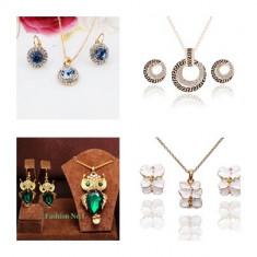 Set Aur 18K -Bufnita/Owl/Cristale - Cutie/Placat/8 seturi/Verde/Albastru/Alb - Set bijuterii placate cu aur