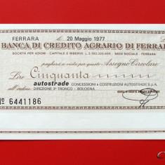 ITALIA - 50 Lire 1977 - Banca di Credito Agrario di Ferrara - aUNC - Cambie si Cec