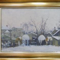 Constantin Isachie Popescu (1888 -1967), Peisaj de iarna cu case - Pictor roman