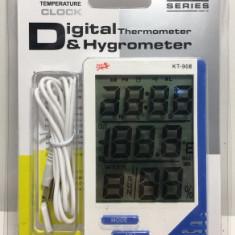 Termometru, Ceas Si Higrometru, Cu Afisaj LCD - KT-908/05160 - Termometru Auto