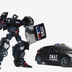 ROBOT TRANSFORMERS CE SE TRANSFORMA IN MASINA DE LUPTA S.W.A.T IN CATEVA CLIPE. - Roboti de jucarie, Plastic, Unisex