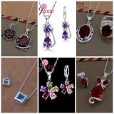 Set Argint 925 Marcat -Pisica/Cat/Inima/Heart/Cub/Floare -Cutie cadou/Sigilat