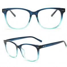 Ochelari fantezie lentila transparenta rama albastru cu verde + cutie cadou