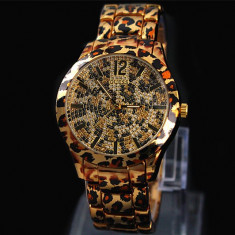 CEAS DAMA GUESS LEOPARD PRINT GOLD&DIAMONDS EDITION-SUPERB-COLECTIE NOUA !! RAR, Fashion, Quartz, Inox, Rezistent la apa