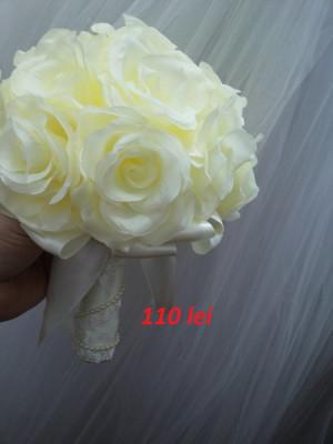 Buchet Mireasa Flori Hartie De Matase Culoarea Ivory Roz Si Alb