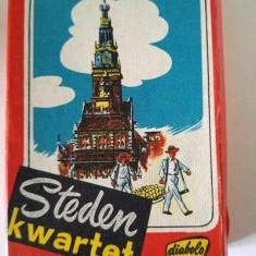Joc carti cvartet cu cladiri din Olanda, anii '50, vechi, vintage, cutie, Papita